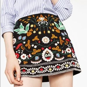 Zara Embroidered Mini Skirt